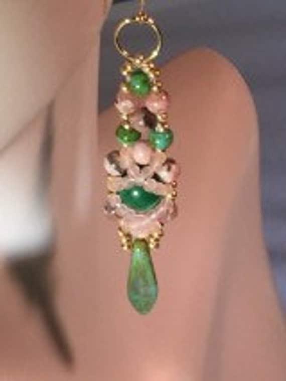 Pink Love stone & African Jade dangler earrings
