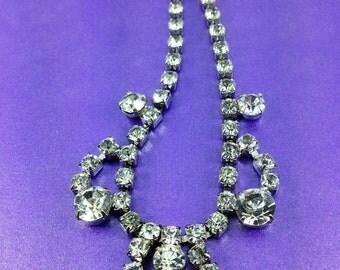 Vintage Rhinestone Necklace, Pendant Necklace, Vintage Wedding, Bridal, Vintage Gift, Hollywood Glamour