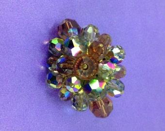 1950's AB Crystal Brooch, Smokey Crystals, Oval Brooch, Vintage Wedding, Bridal