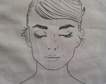 Audrey Hepburn japonais hand painted tote bag!