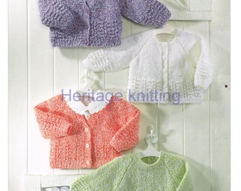 baby / childrens cardigans and sweaters dk knitting pattern  99p pdf