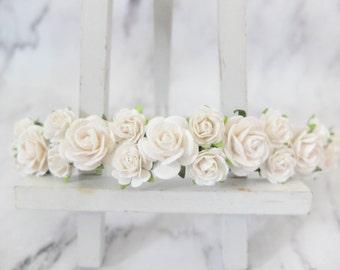 White wedding flower crown - rose headpiece girl -  bridal floral halo - hair garland - head wreath