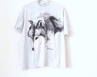 Heather grey t-shirt . Grey wolf 90's cool cotton t-shirt.