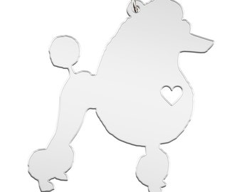 Poodle Necklace Custom Made Stainless Steel IHeart Dog