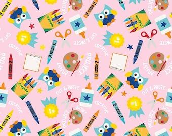 Riley Blake - Colorfully Creative - Crayola - Main - C5400-Pink - Back to School - Fall - Autumn - Owls - Pink - Crayon - Crayons