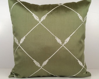 Lime Green Pillow, Throw Pillow Cover, Decorative Pillow Cover, Cushion Cover, Accent Pillow, Silk Blend Pillow Cover, White Silk Detail