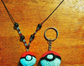 "Pokeball Beaded 20"" Necklace or Pokeball Keychain"