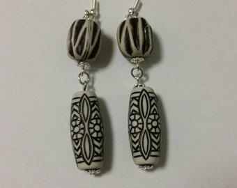 Black and grey earrings, black earrings, grey earrings, silver earrings, sterling silver earrings, sterling silver jewelry,  sterling silver