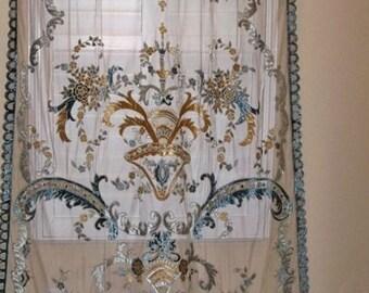 ITALIAN SOPHIA EMBROIDERED Velvet Fabric Sheer Drapes Panel Sapphire Cream Ice Blue