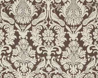 SCHUMACHER ITALIAN BIRDS Lotus Damask Linen Toile Fabric 10 Yards Sable Brown