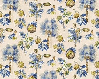 KRAVET LEE JOFA Tropical Sabel Palmetto Palm Trees Fruits Linen Fabric 10 Yards Off White Blue Green