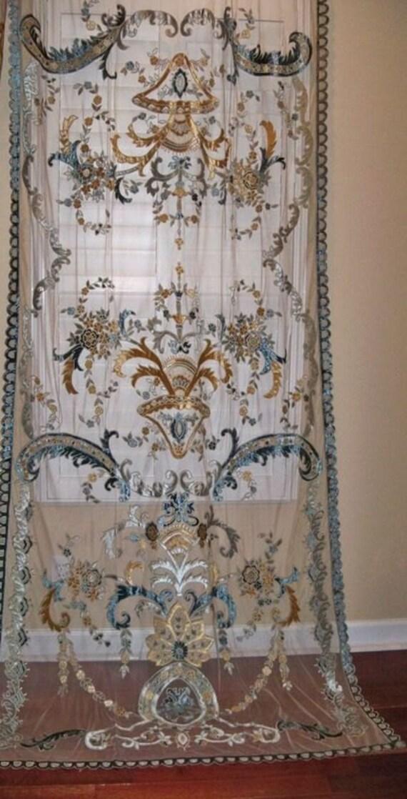 Italian sophia embroidered velvet fabric sheer drapes panel