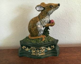 Vintage Cast Iron Mouse with Raspberry Bookend Door Stop
