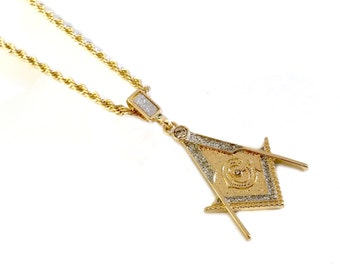 18k Gold Plated Masonic Pendant Necklace