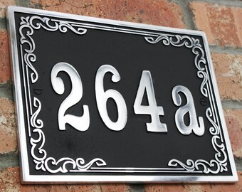 Vintage Style House Address Number Plaque. Solid Aluminium Hand Made To Order In England.