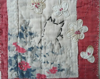 Black Cat Original Textile Art Picture on Handstitched Antique Durham Quilt Pieces, Vintage Fabric Floral Collage with Antique Lace,OOAK