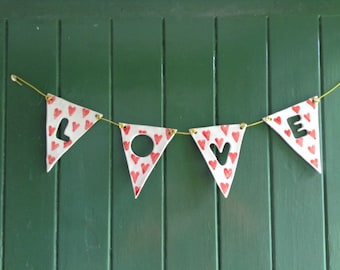 Bunting 4 flags - Personalised ceramic pottery
