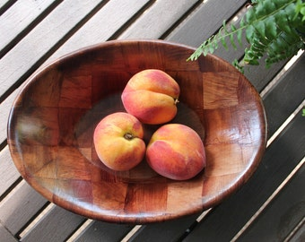 Vintage Pressed Wood Oblong Bowl