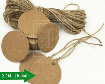 100pcs - Round Kraft Tags, Gift Tags, Price Tags, Holiday Gift Tags, Baby Shower Gift Tags, Wedding Favor Tags - 5.5cm
