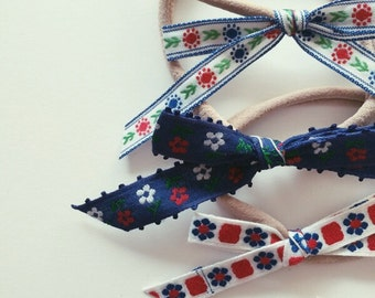 Blue + red floral bow trio