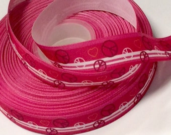 7/8 inch Peace and Love on Hot Pink -  Printed Grosgrain Ribbon for Hair Bow
