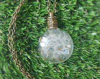 Make a Wish Necklace,  Dandelion Seed Necklace, Dandelion Seed Jewellery, Dandelion Wish Necklace, Make a Wish Jewellery, Dandelion Necklace