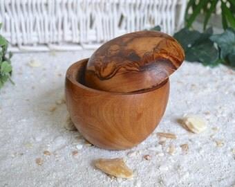 Tooth jars, Ø 6,5 cm olive wood