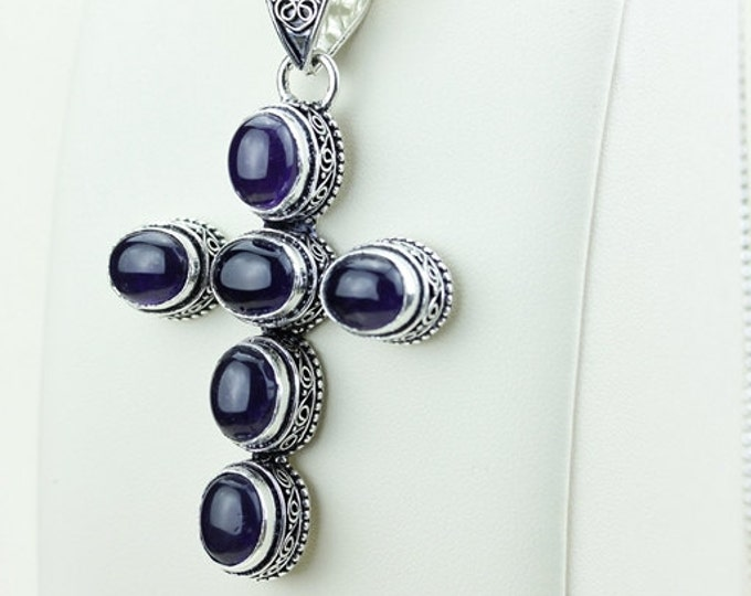 Amethyst Vintage Antique Victorian CROSS 925 S0LID Sterling Silver Pendant + 4MM Chain & FREE Shipping p2999