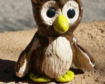 Polymer clay cute brown owl figurine
