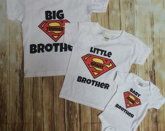 3 Personalized baby Boy im the Big/Little Brother/ onesie and shirt matching sets baby shower gift any size batman/Superman comic dc