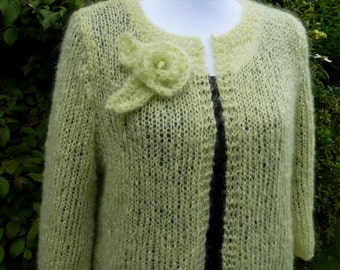 Knitted mohair cardigan,soft green leightweight jacket. classic ladies jacket,  leightweight cardi,mohair summer jacket, classic jacket,