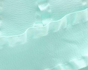 "7/8"" Satin Double Ruffle Ribbon - Aqua 3yds"