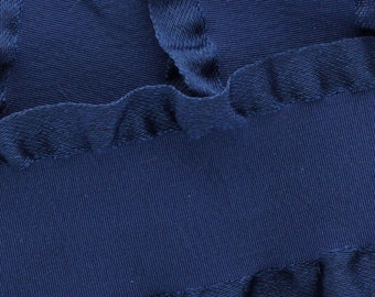 "1.5"" Satin Double Ruffle Ribbon - Navy 3yds"