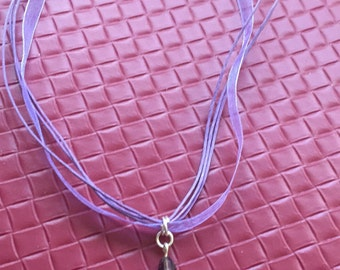 Purple Ribbon Hoot Owl Necklace
