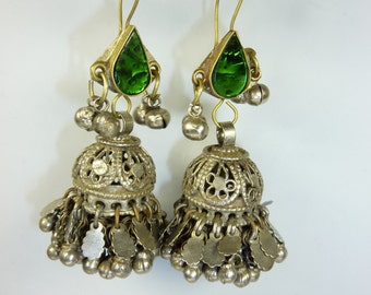 Indian Tribal Earrings with Green Glass-Jewels, vintage
