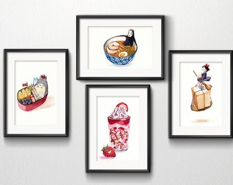"Set Of 4 Studio Ghibli Watercolor Kitchen Art 5""x7"" Prints"