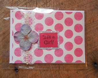 Baby Girl Card- Girl Baby Card- Baby Congratulations Card- Handmade Baby Card- Pink Baby Card- Its a girl card- Embellished Card- Handmade