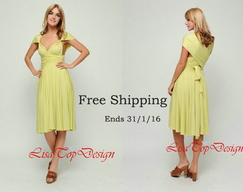 Chartreuse Convertible dress,  infinity dress, Short convertible dress, convetible wrap dress
