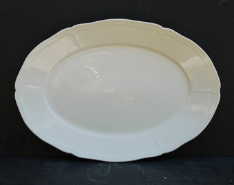 Vintage French ceramic oval serving dish, in gorgeous  white festooned edges,  vintage Pillivuyt French. Collectable cottage chic.