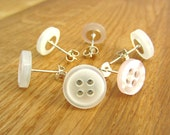 Shirt button earrings, quirky button studs, handmade in the UK, unique eco friendly gift, upcycled jewellery, matching hair clips available