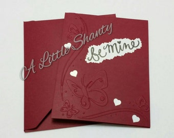 """Valentine Be Mine Embossed Butterfly A2 card(4.25""""x5.5"""")/Deep Red paper base/blank inside"""