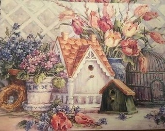 Vintage Set of Blank Note Cards Birdhouses Set of 10