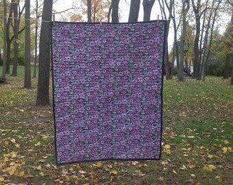 Grey and pink floral whole cloth quilt