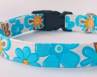 Light Blue Spring Flowers Designer Dog Collar