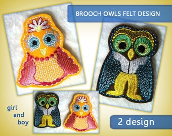 Brooch Owl felt No.57 - boy and girl - Machine embroidery digitization./ INSTANT DOWNLOAD