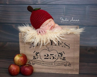 Apple Hat - Fall Hat - Baby Apple Hat  - Apple Beanie - Pick your color - Photography Props - Apple Prop Hat - Newborn Hat -