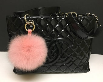 Cute Genuine Leather Fox fur pom pom keychain for car key ring Bag Pendant Light Pink - Hardware