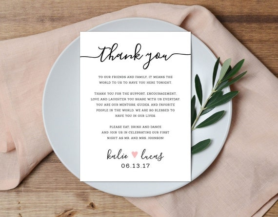 Thank You Letter For Wedding Gift: Thank You Place Setting Wedding Thank You Card Wedding Table