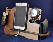 Wooden Valet Stand: Choice of Colours. Keys, Wallet, Phone, Watch, Apple Watch™