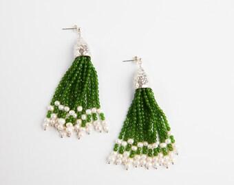 Sterling silver green aventurine and freshwater pearl tassel earrings